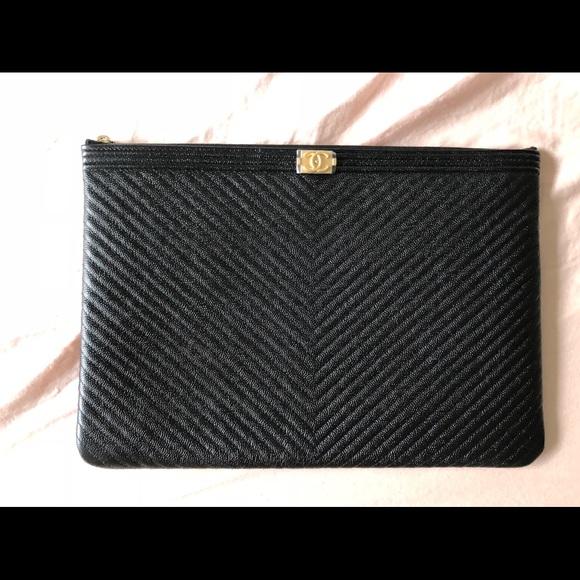 955efa317785 Chanel Caviar Black Large Boy O Case Chevron